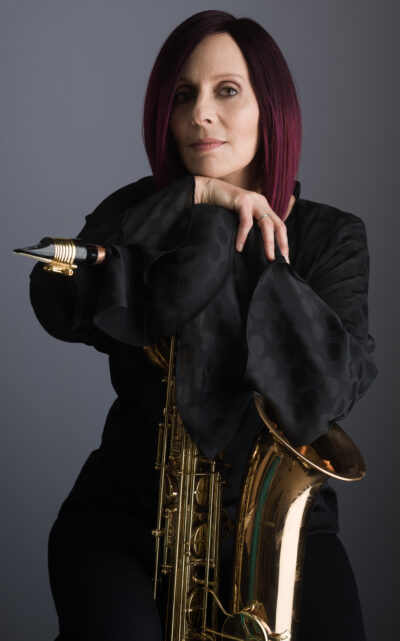 Leigh Pilzer with baritone saxophone